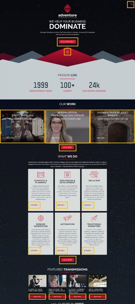 AMS website clickable areas